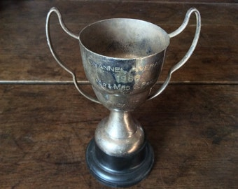 Vintage English Engraved Medium Trophy Cup Goblet Channel Average Mr & Mrs G. Price circa 1960's / English Shop
