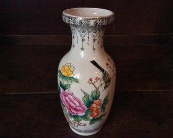 Vintage Chinese White Flower Vase circa 1950's / English Shop