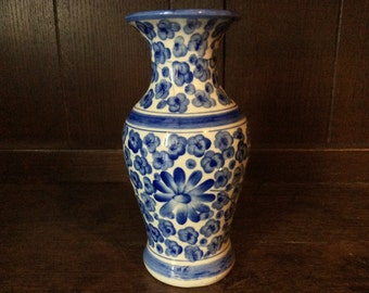Vintage English Blue and White Flower Vase circa 1950's / English Shop