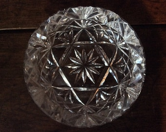 Vintage French Large Heavy Crystal Glass Round Ashtray Smoking circa 1970's / English Shop