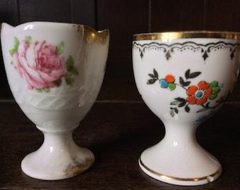 Vintage English White Flowery English Egg Cups Mismatched Set of 2 circa 1970's / English Shop