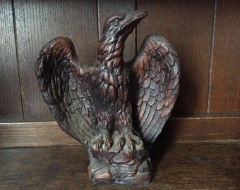 Vintage English Ceramic Eagle Sitting on Rock Heavy Statue Figurine circa 1970's / English Shop