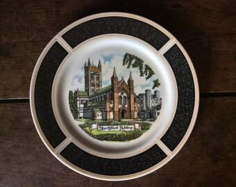 Vintage English Buckfast Abbey Black White Design Motive Decor Souvenir Display Dinner Plate circa 1970's / English Shop