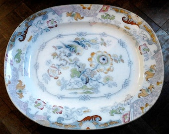 Antique English Asian influenced extra large and heavy serving platter plate circa 1890's / English Shop