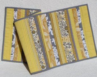 Cheery yellow and gray quilted table runner