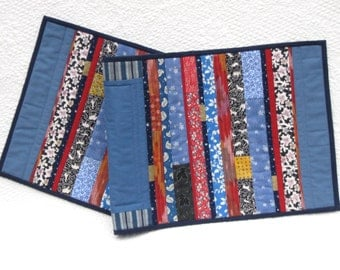 Red, white and blue modern quilted table runner or mantle scarf