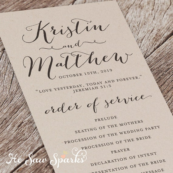 Items Similar To Printable Wedding Program