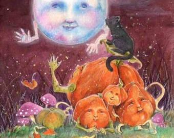 Moonlight Magic -5x7 or 4x6(10 x 15cm) archival print-whimsical halloween autumn magical woodland fairytale childrens illustration