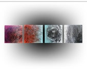 Abstract Quadriptych Impasto Texture  Original Painting Acrylic Art Red Turquoise Teal Magenta Black White, 48 x 12, Skye Taylor