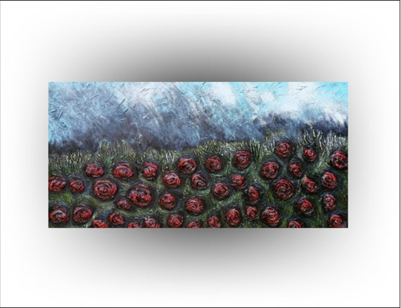 Skye Taylor Original Painting Heavy Texture Impasto Rose Flower...Roses in the Rain... 48 x 24 ready to hang