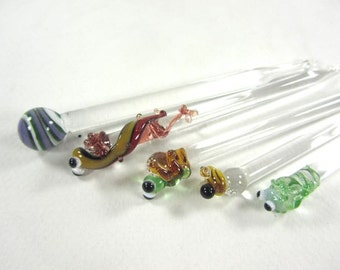 Garden Set of Glass Hors devours Picks