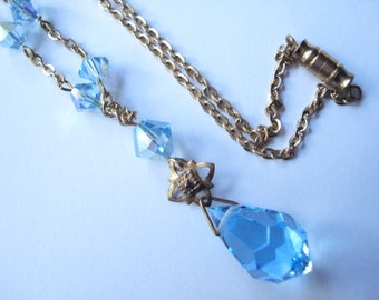 Art Deco Necklace Aqua Blue Glass Beads and Drop 1920's 1930's