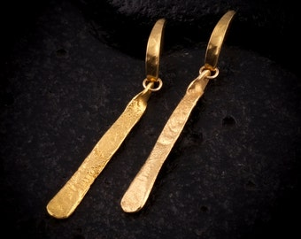 Gold dangling earrings ,post earrings, flat shape, gold earrings, classic look, unique design, elegant, 100% handmade, JUNAM