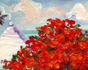 Bermuda white roof and poinciana tree original painting 4 x 6''
