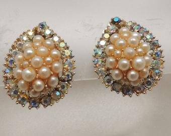 Vintage Kramer Pearl and Rhinestone Clip on Earrings