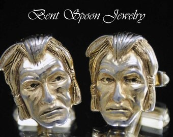 Vintage Cufflinks,  Gold Tone Indian Head Cuff links, Mens Gift, Big Chief, Warrior Cufflinks