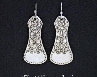 Spoon Earrings, Spoon Jewelry, Vintage Rose Spoon Earrings, Silverware Jewelry