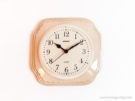Vintage Kitchen Wall Clock Ceramic Pink Working 70s