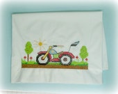 Pillowcase motorcycle themed hand embroidered