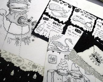 Miscellaneous Original Art Grab Bag - Drawing Illustration Painting Collage