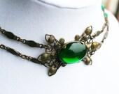 Vintage Green Glass Choker Dog Collar Necklace