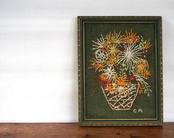 vintage embroidery / framed needlework / handcrafted folk art wall hanging / 1970's flower basket / flowers floral