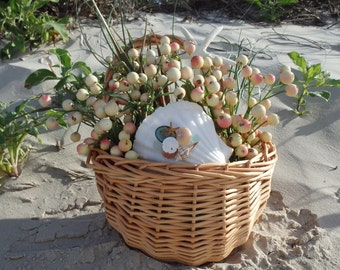 Wreath Beach Basket, Coastal Style with Starfish and Shells
