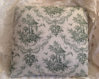 TOILE PILLOW COVER with Romantic Green and off white garden print