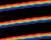 Black Rainbow Stripe Cotton Lycra Knit Fabric -