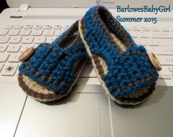 NEW - Buggs - Crochet Boy's Side Button Closure Sandal in Deep Teal - Customize Your Color