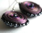 Dangle earrings purple, fiber earrings purple round -Textile jewelry OOAK ready to ship
