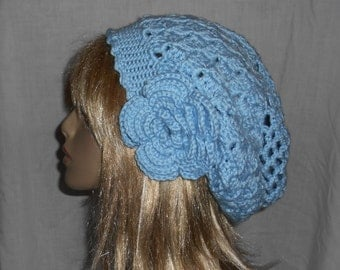 Baby Blue Crochet Slouchy Hat with Removable Flower - FREE SHIPPING to US and Canada