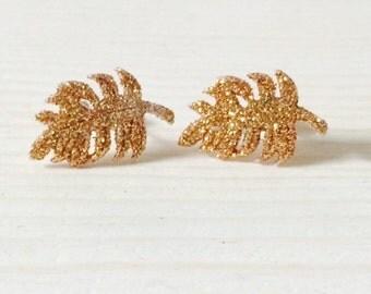 Gorgeous gold glitter leaf earrings