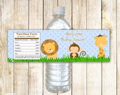 Printable Personalized Jungle Safari Zoo Water Bottle Labels Wrappers - Birthday Party Baby Shower Blue Boy Custom Wraps