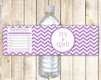 Chevron Bottle Label Baby Girl Shower Purple Party Decoration Printable INSTANT DOWNLOAD