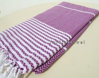 Turkishtowel-2015 Collection-Hand woven,medium weight,very soft,ZİGZAG pattern,Bath,Beach,Travel,Wedding Towel-Purple,white stripes