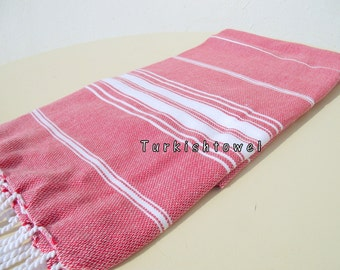 Turkishtowel-NEW Stripes, Soft-High Quality,Hand Woven,Cotton Bath,Beach,Pool,Spa,Yoga,Travel Towel or Sarong-Red,White Stripes