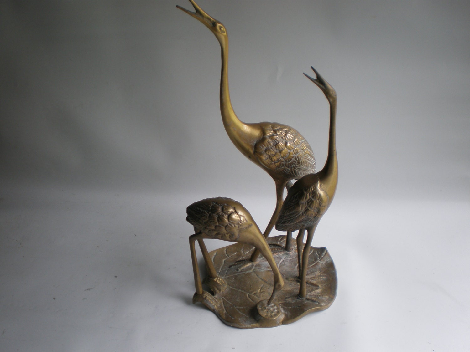 Vintage Brass Birds Statue Standing On A Lily By