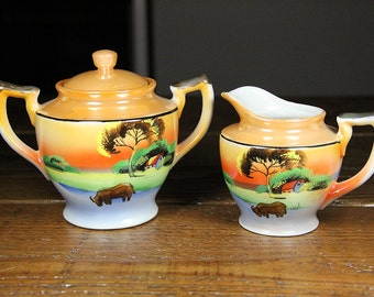 Vintage, Japanese Porcelain, Lusterware, Cream and Sugar Set, Takito, hand painted pocelain, orange, pearl white, gold, blue, green