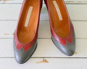 Vintage CRANBERRY and GRAY Leather Heels...size 6 womens...designer vintage. fancy. pumps. heels. glam. ladies. perry ellis. glam. mod