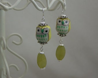 Yellow and Light Green ceramic Owl dangle earrings