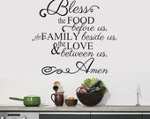 Bless the food before us Family Beside Us Love Between Us wall Decal Home decor Living Room hallway Kitchen dining decor