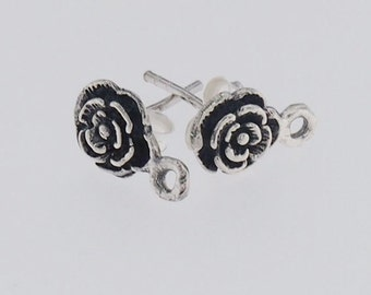 2 pairs of 925 Sterling Silver Flower Earrings Post Findings 6.5 mm. :th2122