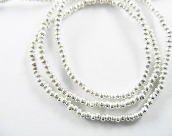 300 of Karen Hill Tribe Silver Tiny Solid Seed Beads 1.5x1 mm 13 inches :kt0084m