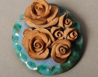 SALE... Vintage Clay brooch, rose brooch