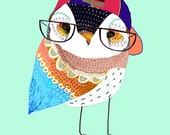 Hip Owl. Kids Owl Poster, Art Print, Owl Drawing.