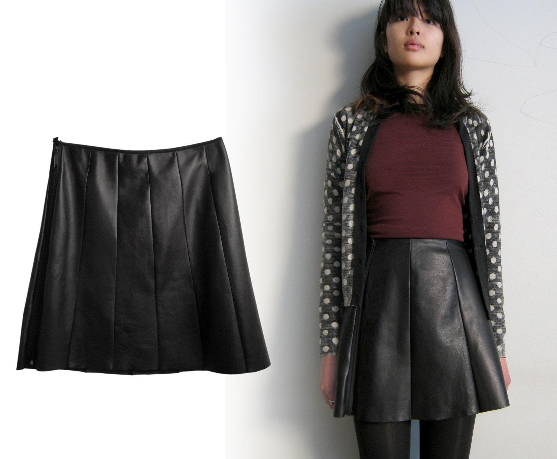 black leather skirt leather skater skirt 8 panel flare a line