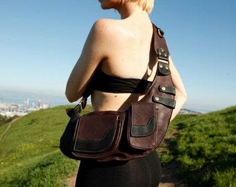 Unisex Leather Mini Messenger Crossbody Bag