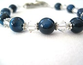Gemstone Bracelet - Blue Striped Agate Bracelet - Beaded Bracelet - Gemstone Jewelry - Swarovski Crystal - Natural Stone Jewellery