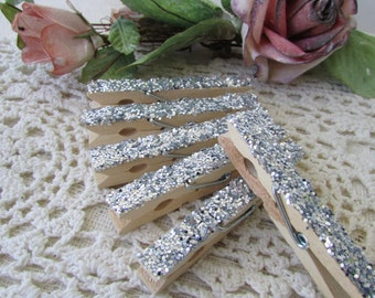 Silver Glittered  Clothespins, 1 Dozen Silver Glittered Clothespins, Photo Clips, Birthday Party Decor,